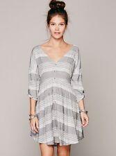Free People Idle Wild Dress Black White Stripe Small Rare Retail $138.00