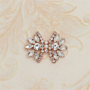 Butterfly Rhinestone Applique Patch Pearl Crystal Bridal Headband DIY Shoe Clips