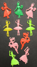 Vintage 3cm tall Dancing Girl and Ballerina Charms - 10 of them
