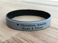 Adults Personalised Wristband Silicone Temporary Band Custom Engraved Name 202mm