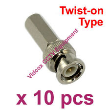 10x Twist On Fitting Male RG-59 Cable Coaxial BNC Connector Plug for CCTV Camera