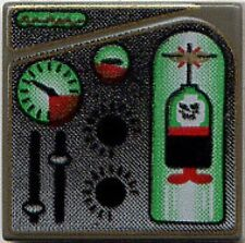 LEGO 4795 - Tile 2 x 2 with Green & Red Ogel Orb & Gauges Pattern - Dark Gray