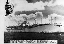 Photo. 1950. Ship - ANNA SALEN - Bremerhaven to Melbourne
