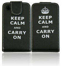 "KEEP CALM AND CARRY ON""Black Leather Flip Case Cover BlackBerry Curve 8520 9300"