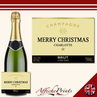 L83 Personalised Champagne Gold Christmas Brut Bottle Label - Perfect Gift!