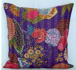 "16 ""Indian Kantha Pillow Case Cotton Floral Print Bedspread Sofa Cushion Decor"
