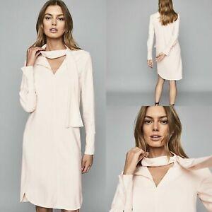 Reiss Mirela Ivory Cream Tie Neck Long Sleeve Shift Dress RRP £229 Size UK4-UK14