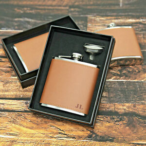 6oz Leather personalised Hip Flask.Bridal party Gifts with gift box