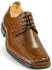 Stacy Adams Mens Cognac Brown Leather Square Toe Lace Up Dress Business Shoe