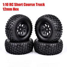 4x 12mm hex 1:10 Rubber RC Short Course Tire Wheel Rims For TRAXXAS SlASH Truck