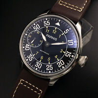 44mm Parnis Hand Winding Men's Casual Watch Black Dial White Mark Leather Strap