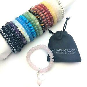 Gemstone Bracelet Healing Reiki Chakra New Age Heart Charm Genuine Crystal
