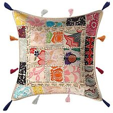 Decorative Cotton Bohemian 17x17 Embroidered Patchwork Pillow Cover Cowrie Shell