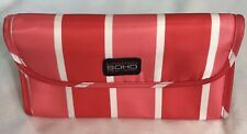 SOHO London New York Beauty Travel Tri-Fold Makeup Pink Striped Bag Pencil Case