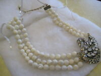 "HEIDI DAUS ""A Swan Song"" Crystal-Accented (MOP) Beaded Necklace (Orig.$289.95)"