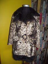 Vintage 1960's Fake fur Leopard Print Trench coat size 12 14