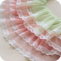 1Yard Gauze Ruffle Lace Trim Double Layer Pleated Ribbon Fabric Hem 6.69'' Width