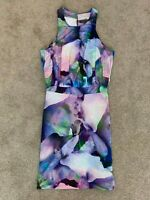 Sheike Womens Cocktail Dress Size 8 Multicoloured Floral Pattern Pencil Dress