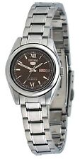 Seiko 5 SYMK25 Women's Stainless Steel Brown Dial Day Date Automatic Watch