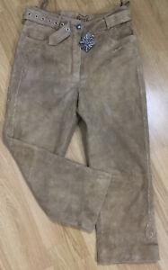 VTG Bavarian Almsach Camel Brown Suede Embossed Crop Trousers With Belt 38 Folk