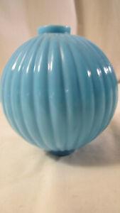 Vintage 1900's Lightning  Blue Ribbed Milk Glass Ball Globe 4 1/2''
