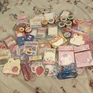 Lot Japanese / Korean 85 Piece Kawaii Sticker, Memo Sheets, Tape Swatches, Etc