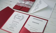 Pocket fold Wedding Invitation Set, Customized and Full Printing Included, Red