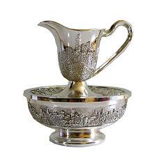 Last Waters Mayim Achronim Jerusalem Silver plated Cup & Bowl Judaica Israel