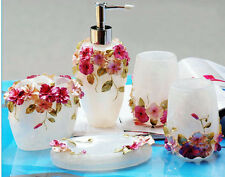 Hot 5pcs Bathroom Accessories Sets with Nice 3D Flower Wedding