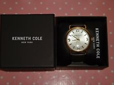 Kenneth Cole New York Men Gold S/Steel Watch Brown Leather Strap 10017173 Arabic