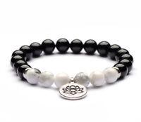 8mm obsidian Howlite Bracelet pray Healing yoga Spirituality Sutra men mala