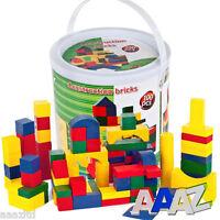 100 Piece Wooden Construction Building Blocks Bricks Toys In A Tin Gift