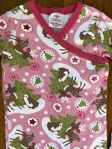 HANNA ANDERSSON Girls Long Johns Organic Cotton Christmas PJs Pink Reindeer 130