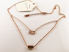 Collier-Kette Edelstahl 2 Anhänger Rosegold Vergoldet Damen Halskette 45 cm