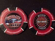 "Harley Golf Ball Marker Poker Chip Red/Black ""Twister City"" Wichita KS ERROR"