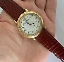 BAUME & MERCIER 18 KT GOLD MENS QUARTZ WATCH Swiss VERY THIN Lagarto Band Works!