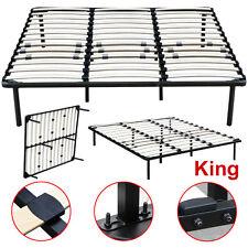 King Size Wood Slats Metal Bed Frame Platform Bedroom Mattress Foundation Base