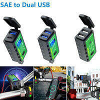 Waterproof 12V SAE to Dual USB Motorcycle Charger Adapter for Phone GPS