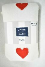 Janie And Jack Tights Red Heart Size 2T  00006000 - 3 Girl's New