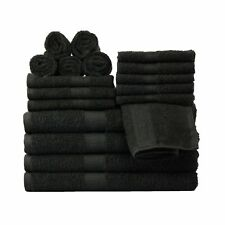 18 Piece Towel Set 100% Cotton Bath Towels Wash Cloths Hand Dry Absorbent Black