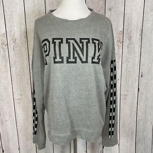 Pink Victorias Secret Sz M Gray Black Logo Crew Neck Long Sleeve Sweater T-Shirt