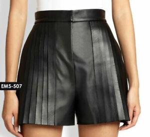 NOORA Women Black Genuine Soft Lambskin Leather Pintuck-Pleated Shorts WA541