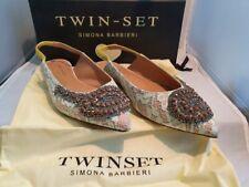 Twin-Set Ballerina Spitze Leder Made in Italy aktuelle Kollektion Gr 39 Neu