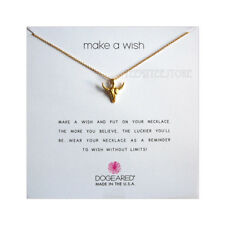 """Dogeared 14K Gold Vermeil Bull Head & 16"""" + 2"""" Chain Make A Wish Necklace Boxed"""