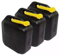 3x 20L Black Plastic Jerry Cans Diesel Petrol Fuel Water + 3 flexible Spouts UK