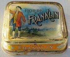 Antique Flor De Franklin Cigars - Glass, Store Advertising, Change Receiver Tray