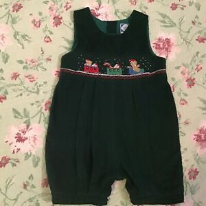 Carriage Boutiques Green Corduroy Smocked Christmas Shortall/Romper Size 24 Mos