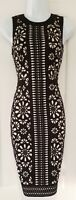 Womens Phase Eight Black Nude Laser Cut Floral Scuba Wiggle Bodycon Dress 8.