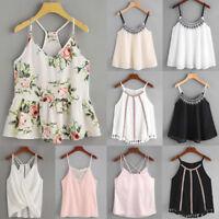 Women Sleeveless Tank Tops Vest Boho Floral Chiffon Cami Crop T-Shirt Blouse AU