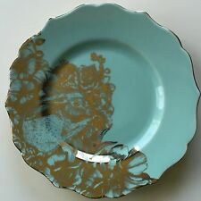 222 FIFTH 8 pc Set Garden Playtime Turquoise Gold Bunny Plates Salad Dessert NEW